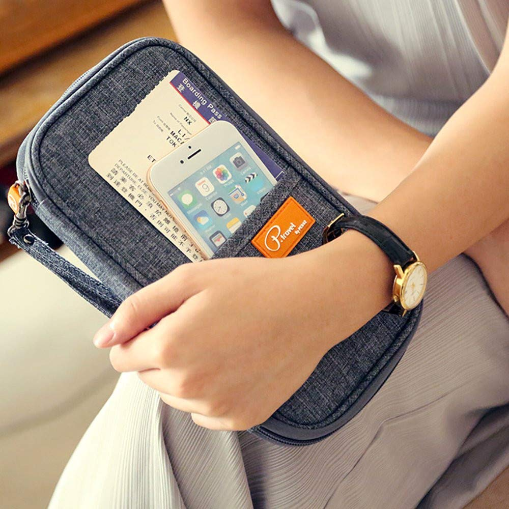 Travel Wallet Organiser with RFID Blocking Travel Organizer Travel Passport Wallet Holder Case Credit Card Holders Passport Organiser Perfect Passport Holder for Women and Men