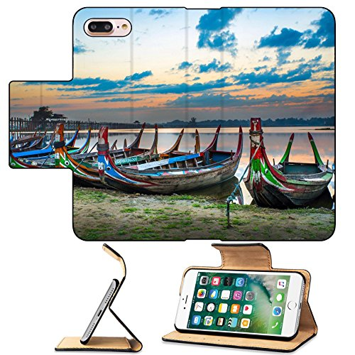 MSD Premium Apple iPhone 7 Plus Flip Pu Leather Wallet Case Colorful old boats on a lake in Myanmar IMAGE - Village Bridge Port
