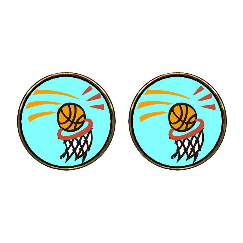 GiftJewelryShop Gold Plated Olympics basketball goals Photo Stud Earrings 12mm Diameter
