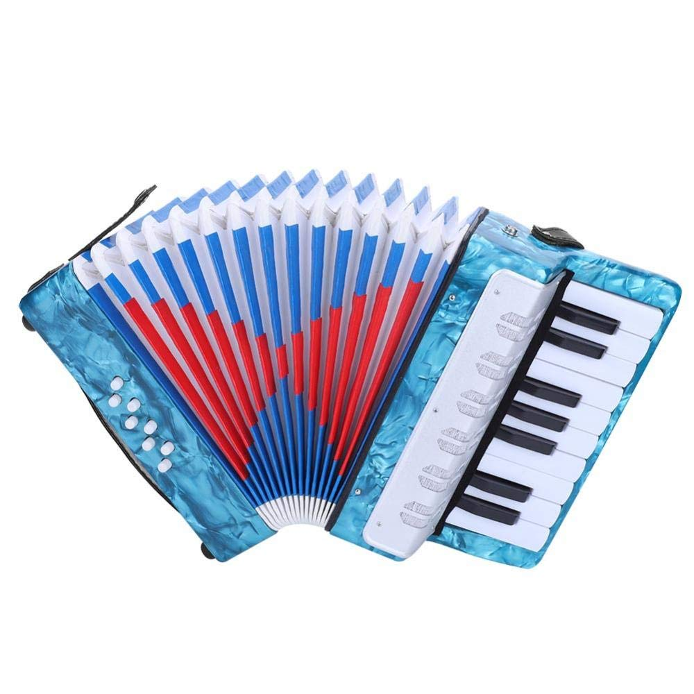 17-Key 8 Bass Accordion, Mini Small Piano Accordions Children's Musical Instrument Educational Rhythm Band Toys for Kids Junior Students Beginners, Ideal Birthday's Gift(Navy Blue) by Wbestexercises