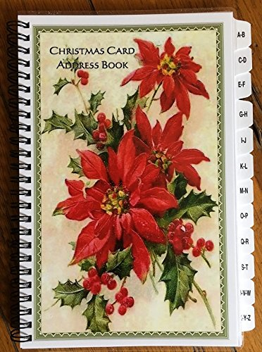 Christmas Card Address Book Spiral with A-Z Tabs Frame Poinsettia Personalized Gift