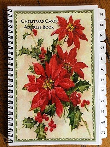 クリスマスカードアドレス帳スパイラルwith a - ZタブフレームポインセチアPersonalized Gift   B01M7PUUDA