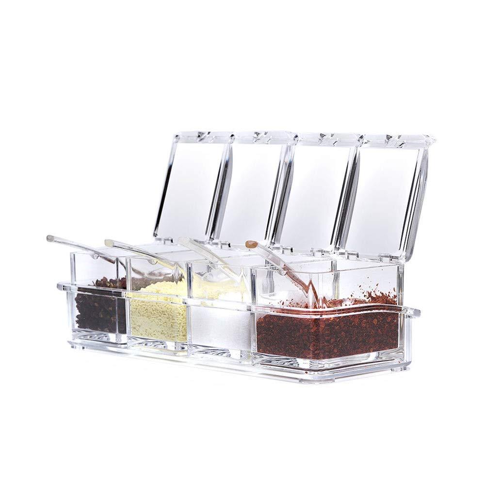 KIYYI Cruet with Bottom Corrosion Resistant Seasoning Box Kitchen Seasoning Box Acrylic Seasoning Tank Spice Jar Set Moisture-Proof Salt Can by KIYYI