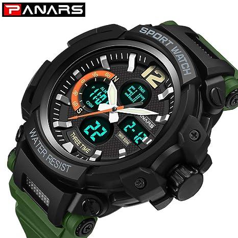Msxx Reloj Dual del Movimiento, exhibición electrónica + del indicador, Zona horaria Dual,