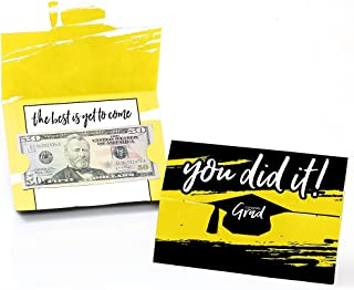 product image for Big Dot of Happiness Yellow Grad - Best is Yet to Come - Yellow Graduation Party Money and Gift Card Holders - Set of 8