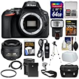 Nikon D5600 Wi-Fi Digital SLR Camera Body 35mm f/1.8 G DX Lens + 64GB Card + Case + Flash + Battery & Charger + Tripod + Kit