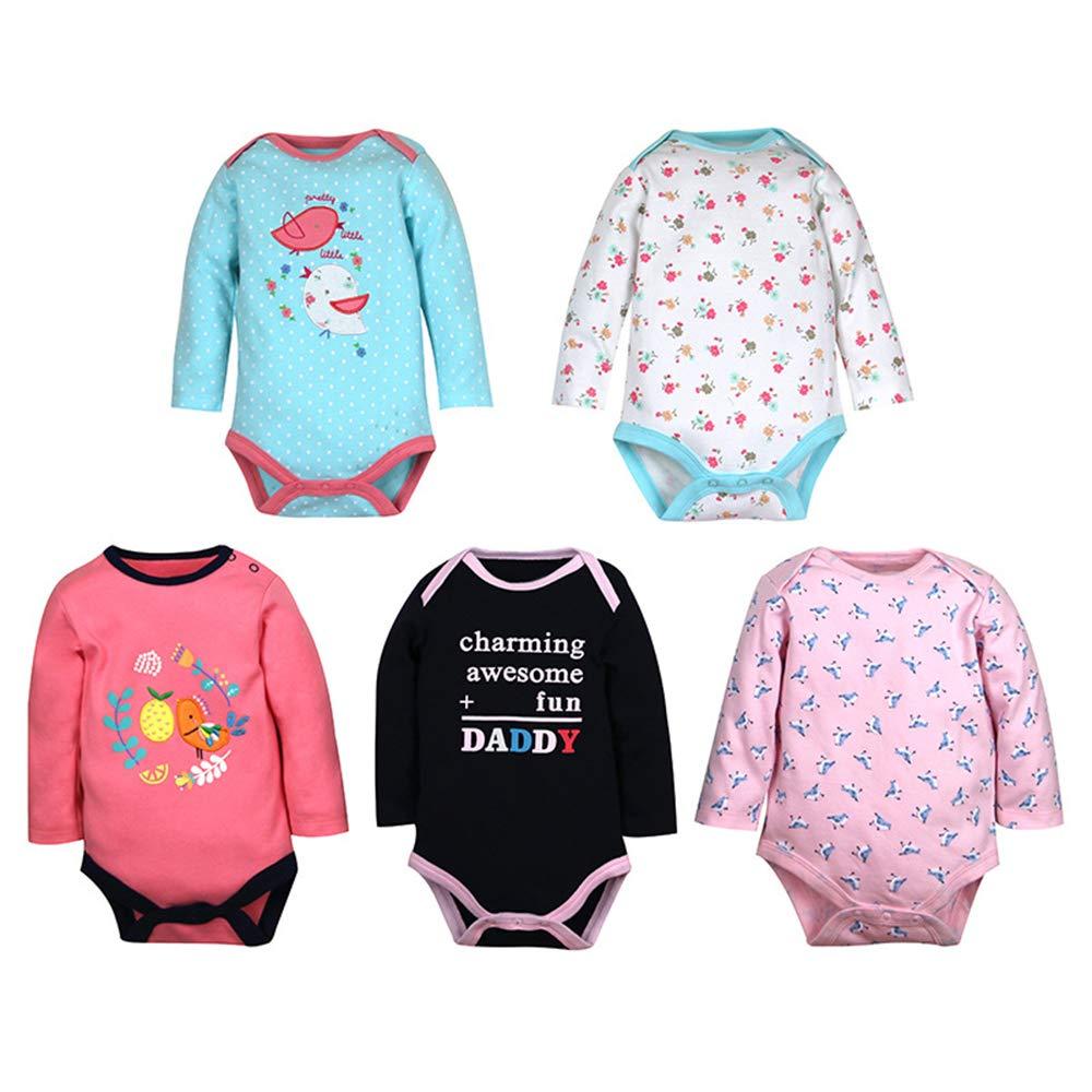 Pack of 3//5 ZEVONDA Baby Boys Girls Bodysuit Short Sleeve//Long Sleeve//Romper Sleepsuit Pajamas Set 100/% Cotton for Newborn 0-18 Months