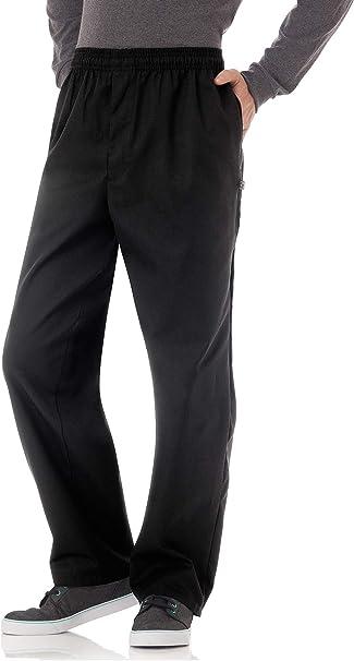 MENS medium CHEF WORKS BLACK UNIFORM PANTS  KITCHEN COOK TROUSERS w Zipper