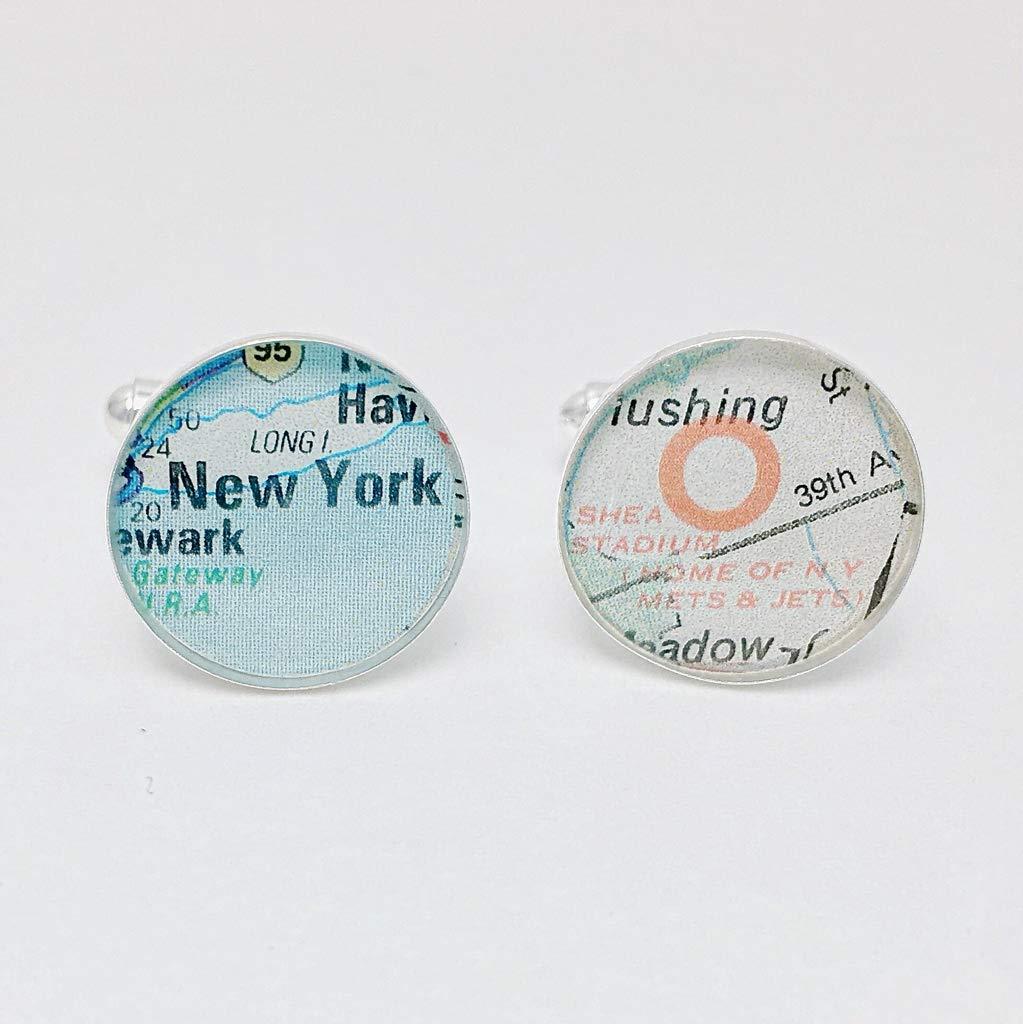 Shea Stadium Mets and Jets Vintage Street Map Cufflinks, Brother Gift, Boyfriend Gift, Teen Boy Gift