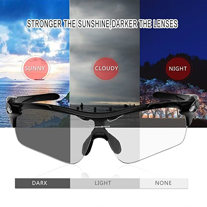 1294ee994cd ROCKBROS Photochromic Cycling glasses Mens Outdoor Sports Sunglasses UV400  suit for day and night  Amazon.co.uk  Sports   Outdoors