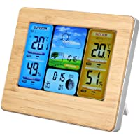 Weather Clock, LCD Digital Wireless Weather Station Clock Thermometer Indoor&Outdoor Humidity(Yellow)