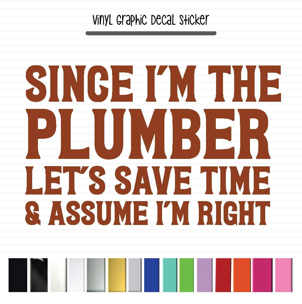 Since Im The Plumber Lets Save Some Time And Assume Im Right Plumber High Quality Outdoor Rated Auto Wrap Vinyl Vinyl Decal Sticker for Vehicle Window Laptop Cooler Planner Locker Safe