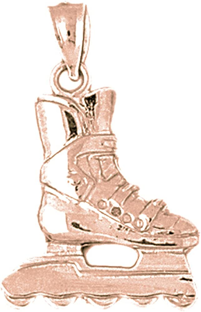 27mm Silver Yellow Plated Hockey Player Charm