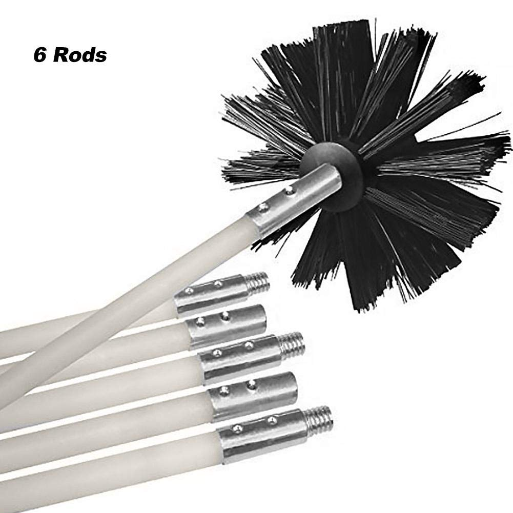 Flexible Dryer Cleaning Vent Kit Lint Remover Includes 6 Flexible Rods 1 Brush Head CargonTi 24ft Dryer Duct Cleaning Kit