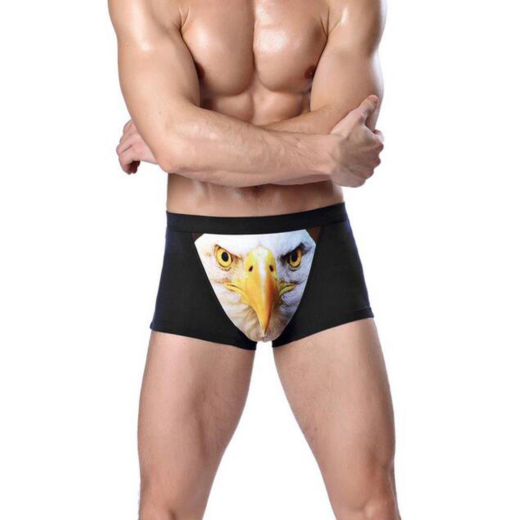 perfk Uomo 3D Lupo Biancheria Intima Mutande Boxer Slip di Cotone Shorts Tanga