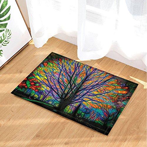 NYMB Creative Trees Decoration, Colorful Watercolor Spring Life Tree Bath Rugs, Non-Slip Doormat Floor Entryways Outdoor Indoor Front Door Mat, Kids Bath Mat, 15.7x23.6in, Bathroom Accessories