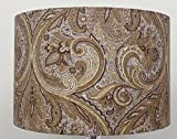 Paisley Gold / Cream Linen Style Cylinder / Drum Lampshades , Ceiling Light (20cm)