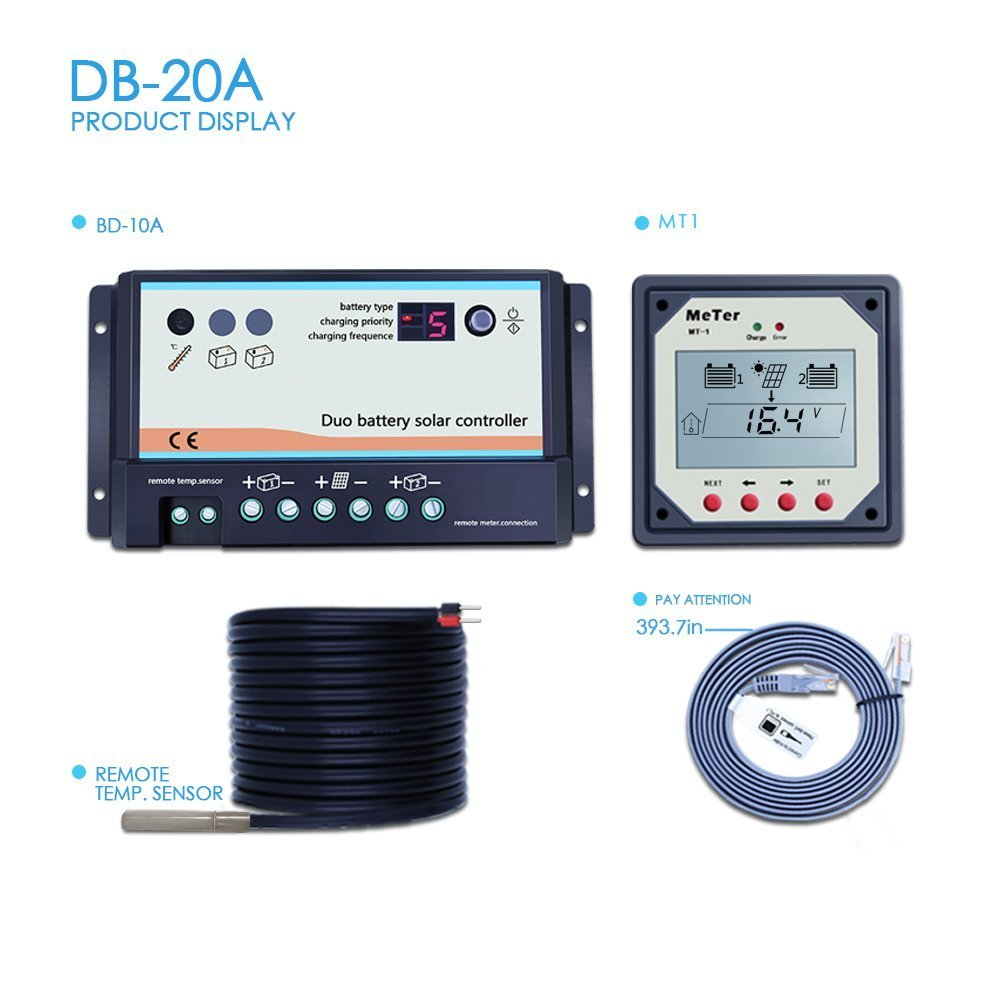 Y-SOLAR 20A Dual Battery Solar Charge Controller, Fit for RVs Or Two Separate Solar Charging System, includes DB-20A, Remote Meter MT-1 and Temperature Sensor