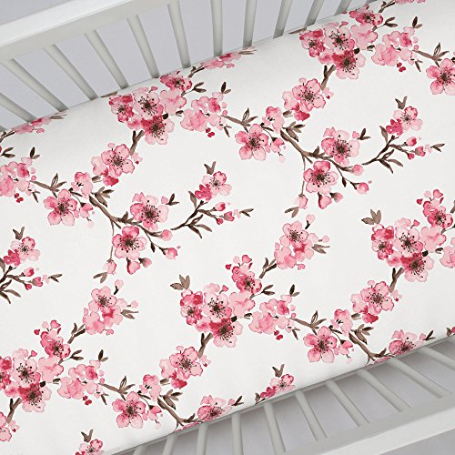 Carousel Designs Pink Cherry Blossom Crib Sheet - Organic 100% Cotton Fitted Crib Sheet - Made in The -