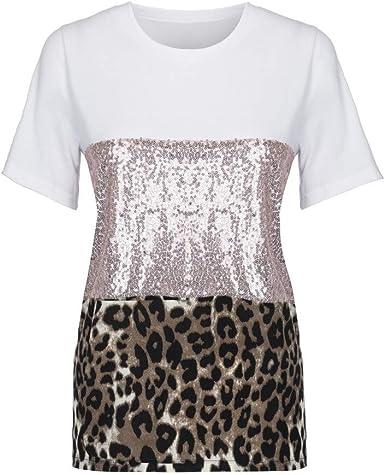 Moda para Mujer Pacthwork Estampado de Leopardo Manga de Lentejuelas Camiseta Blusa Informal Top: Amazon.es: Ropa y accesorios