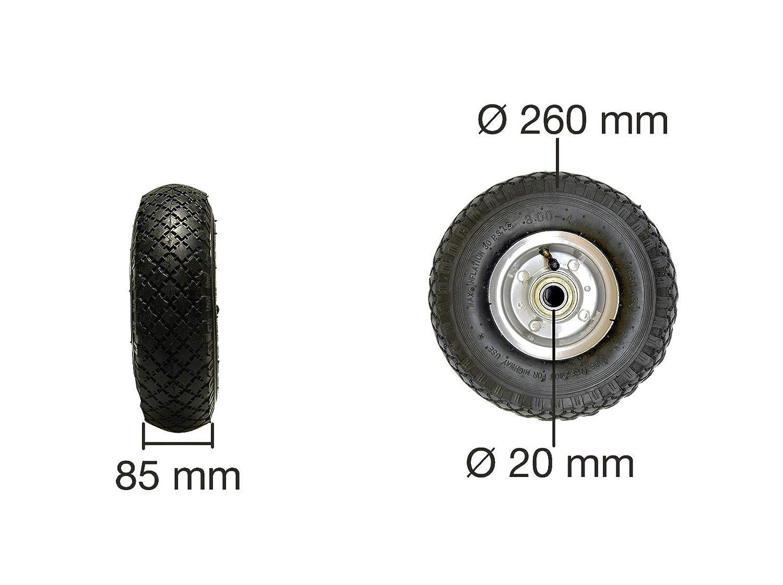 4x Sackkarre Ersatzrad 260mm 3.00-4 Luftrad mit Kugellager 130kg Reifen Laufrad