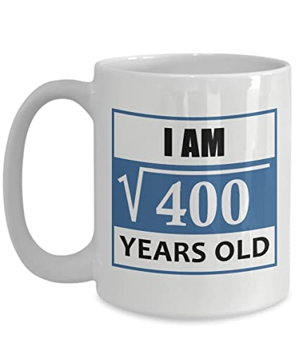 funny math gifts mugs 15 oz square root of 400 20 year old birthday