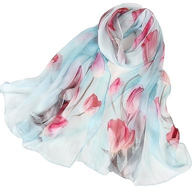 81dc6a4ce34a0 Seidenschal Damen 100% Seiden Schal Elegante Seidentuch Hautfreundlich Anti-Allergie  Halstuch 175   65cm