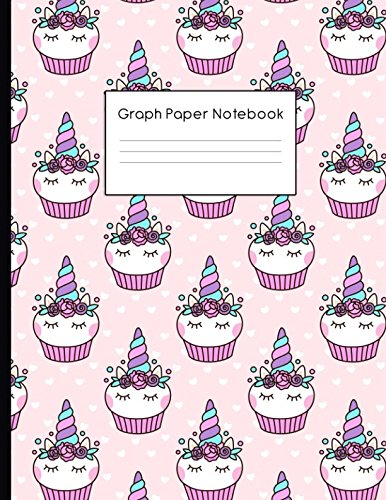 Graph Paper Notebook: Unicorn Cupcake Pattern Quad Ruled 4 x 4 (.25'') Composition Book for Math & Science Students and Teachers