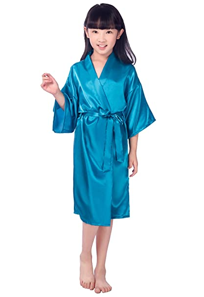 Amazon.com: EPLAZA Girls Plain Satin Robe Children Dressing Gown ...