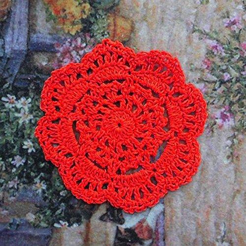 (yazi Round Crochet Lace Doily 100% Cotton Handmade, Set of 4 Pieces)