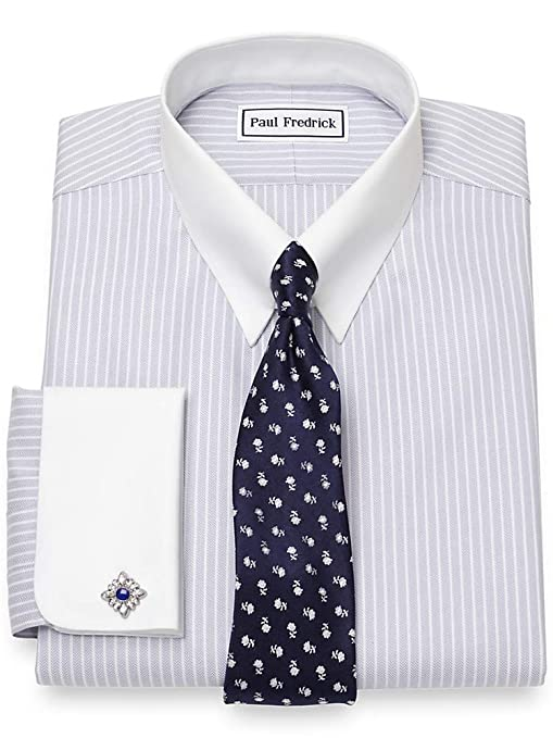 Vintage Shirts – Mens – Retro Shirts Paul Fredrick Mens Non-Iron Cotton Herringbone French Cuff Dress Shirt Grey $89.50 AT vintagedancer.com
