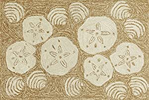 "Area Rugs - ""Coastal Treasures"" Rug - Natural - 30"" X 48"" - Sand Dollar and Clam Shell Rug"