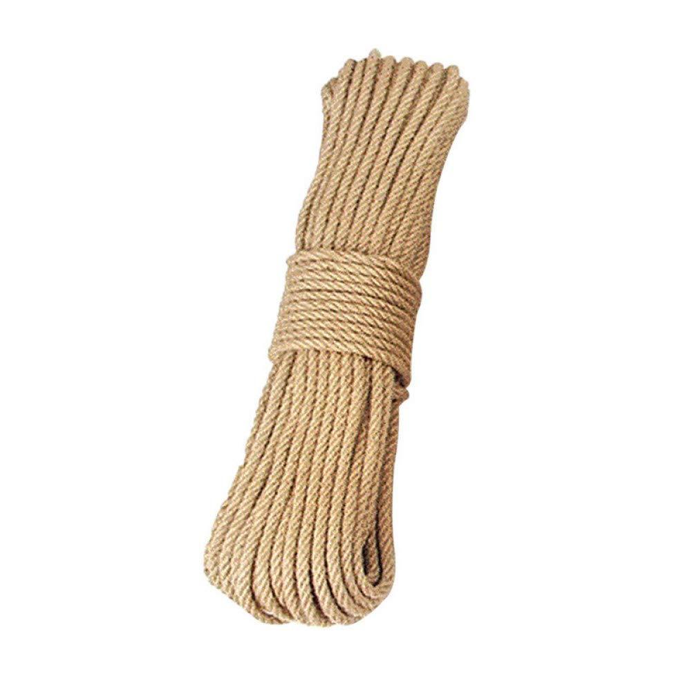 20m SHGE Corde 8Mm Naturel Jute Corde Ficelle Corde Chanvre Twisted Cord 3M-50M String en Macramé Bricolage Artisanat Pet Gratter La Décoration à La Main