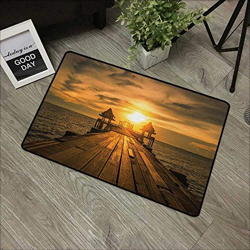 Interior mat W35 x L47 INCH Beach,Wooden Dock Serene Bangkok Bay Morning Sunshine and Ocean Picture Print,Brown Yellow Dark Blue Our Bottom is Non-Slip and Will not let The Baby Slip,Door Mat Carpet ()