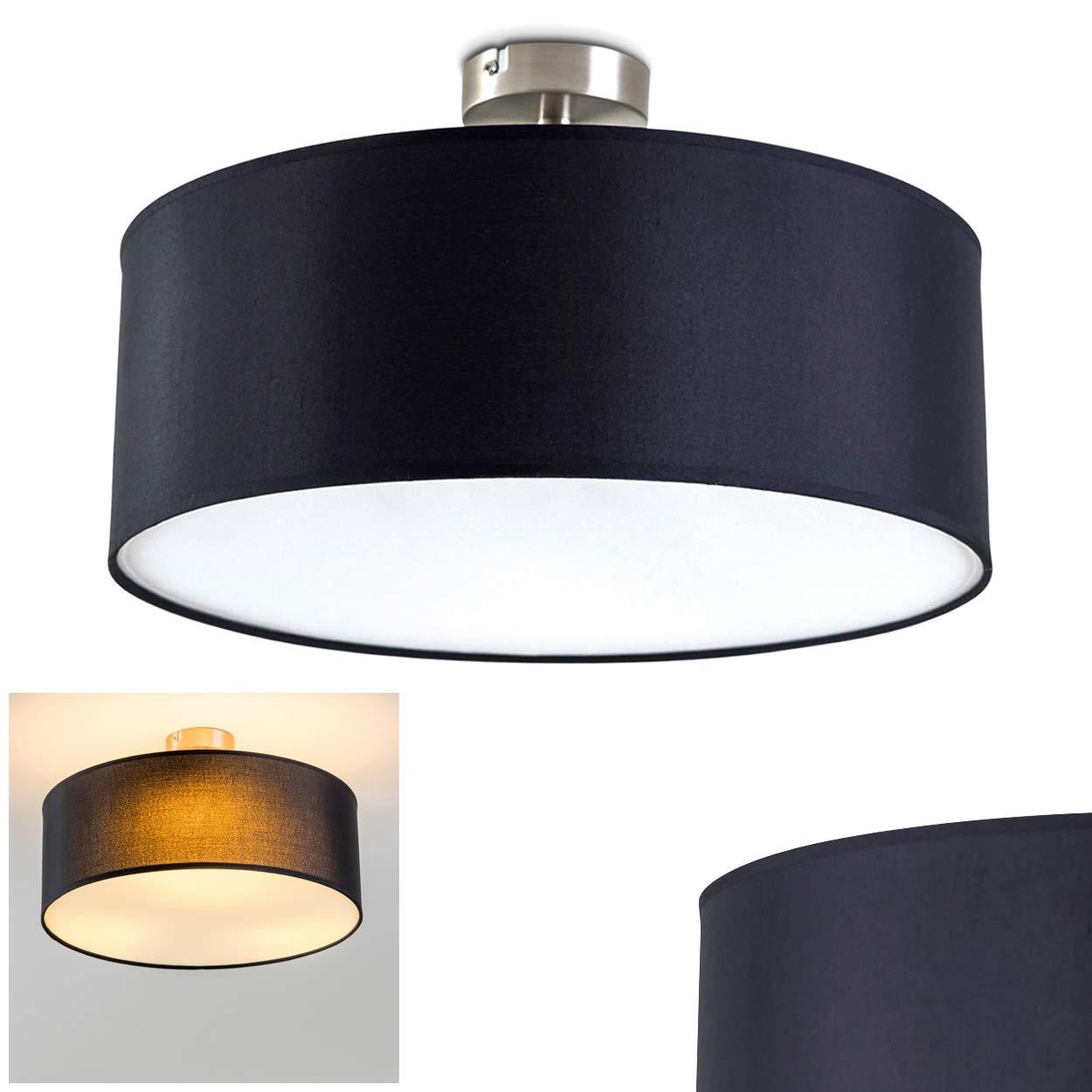 Noir  Plafonnier Foggia avec grand abat-jour en tissu noir de 40 cm de diamètre pour 3 ampoules E27 max 40 Watt, compatible ampoules LED