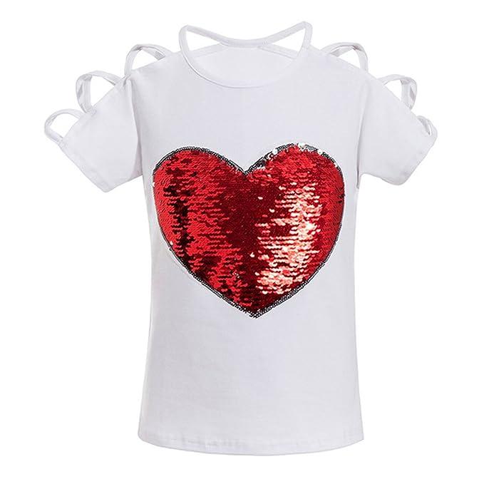 Yying Niñas Corazón Impreso Camisetas con Decoración de Lentejuelas Moda Mangas Cortas Cuello Redondo Shirt Verano