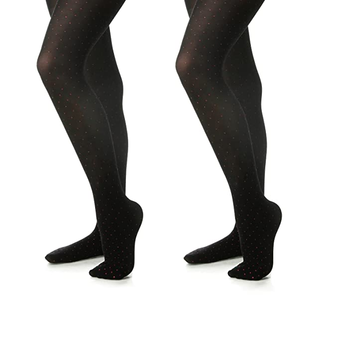 302e54876f218 Silky Toes Microfiber Girls Opaque Footed Rhinestone Embellished Tights  (Black/Burgundy, 2-