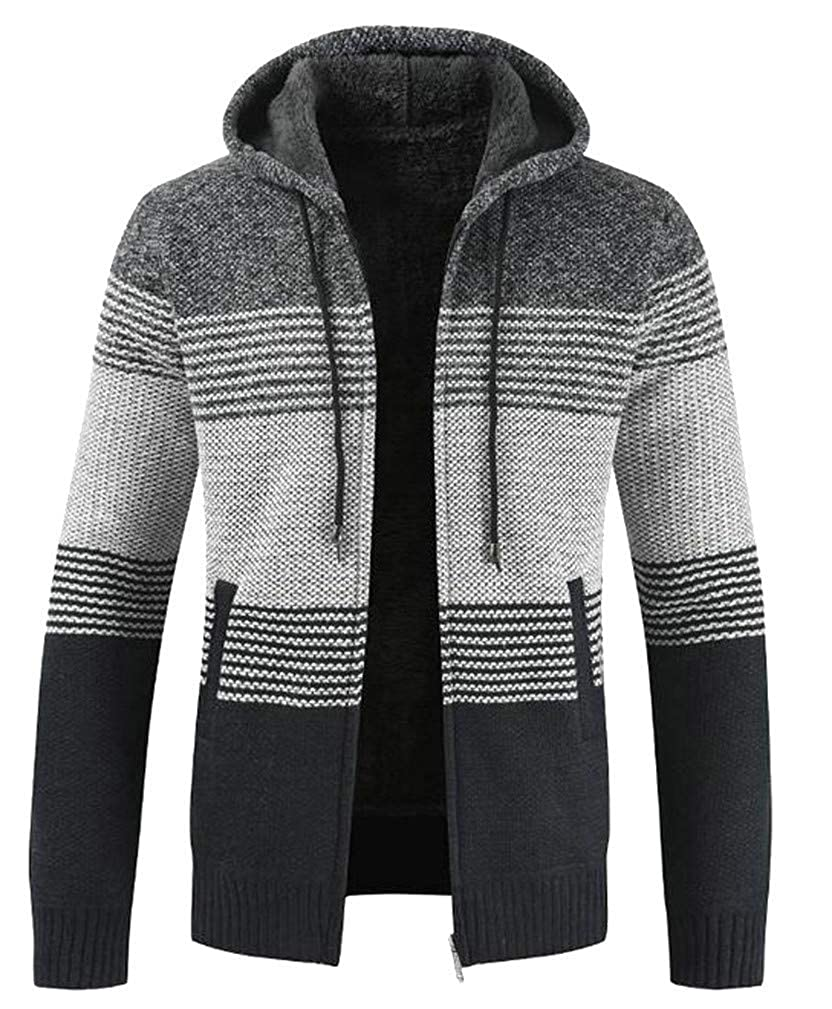 Joe Wenko Mens Warm Knitted Striped Woven Long Sleeve Crewneck Pullover Jumper Sweaters