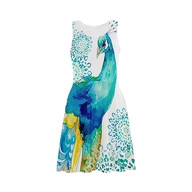 295c3f29633 D-Story Custom Dress Blue Peacock Women Sleeveless Sundress at ...