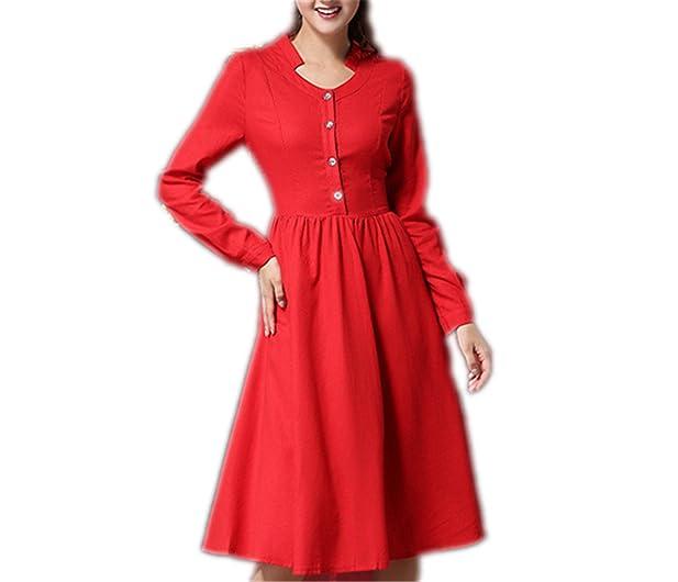 AS503anakla Fashion Spring Vintage Brief Elegant Slim Red Long Sleeve Knee Length Dresses Single Breast Shirt