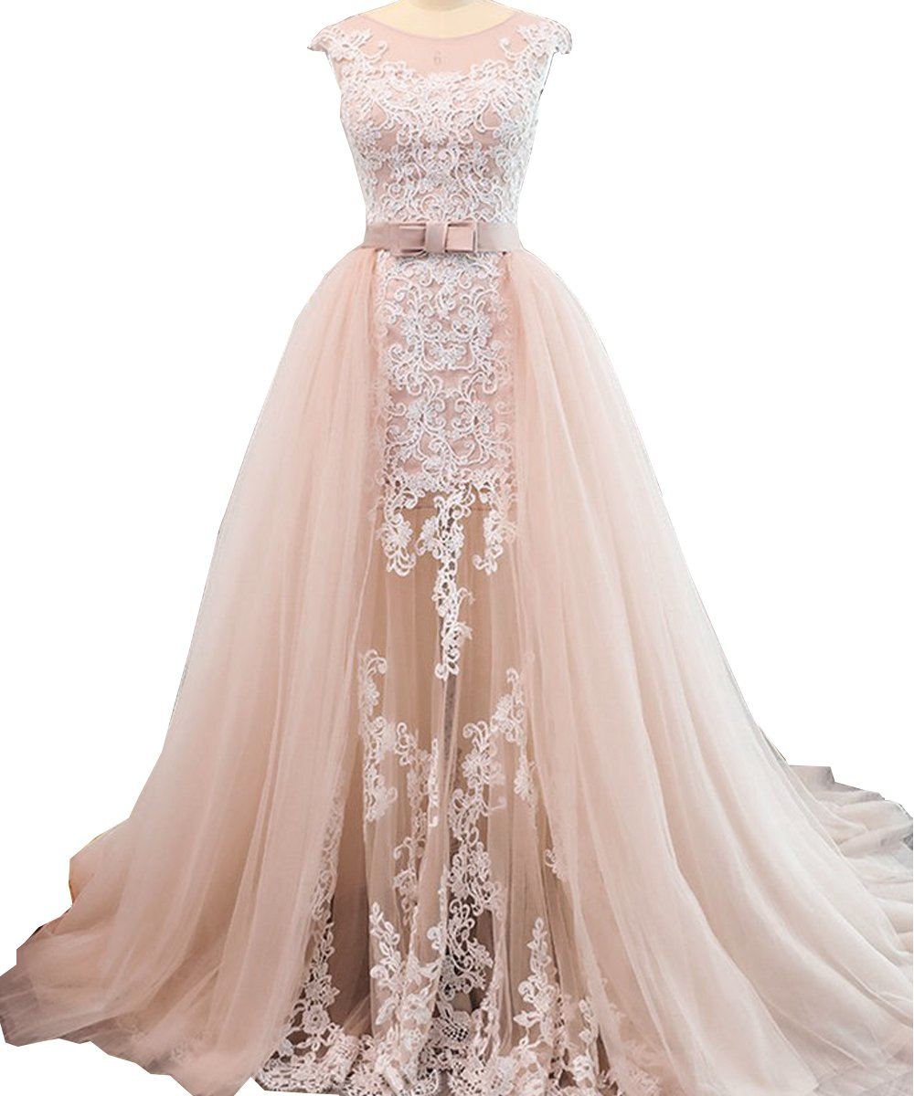 Geshun Sleeveless Lace Prom Dress For Women 2018 Long Plus Size Formal Evening Party Gown With Bowknot Blush US26W