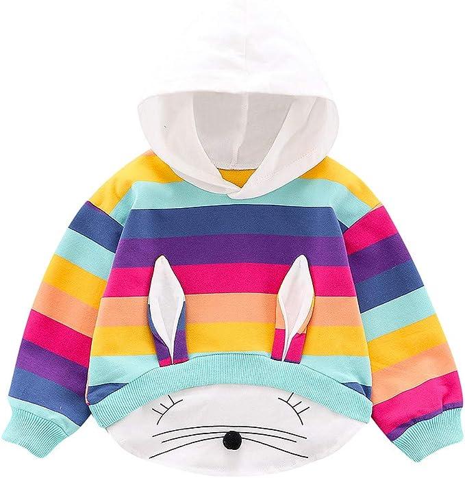 ThePass Toddler Baby Girl Stripe Rainbow Winter Warm Jacket Hooded Windproof Coat