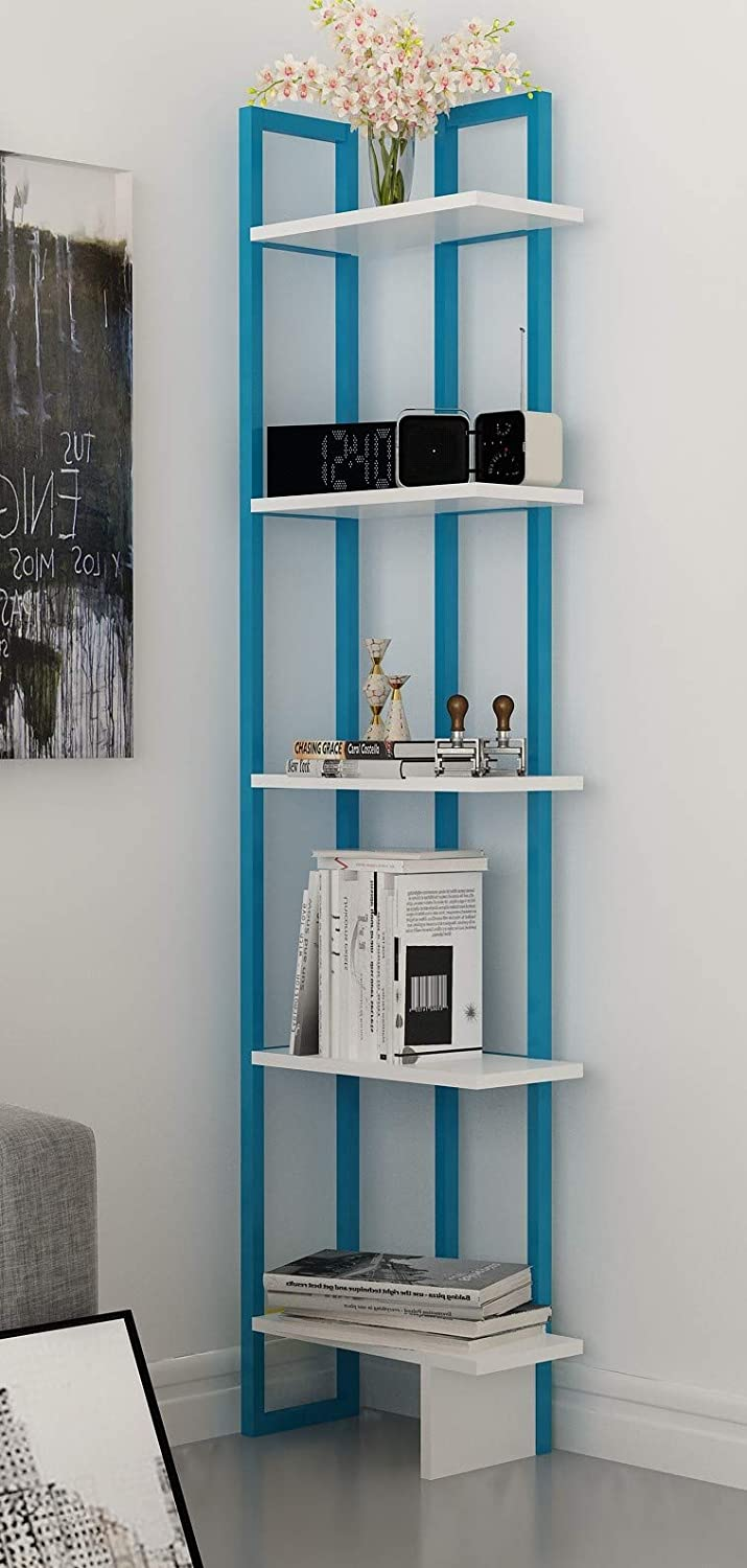 Decorotika Alice 5-Shelf Vintage Industrial Corner Bookshelf, Rustic and Metal Corner Bookcase with Fancy Color Options,Multiple Use Option (Blue and White)