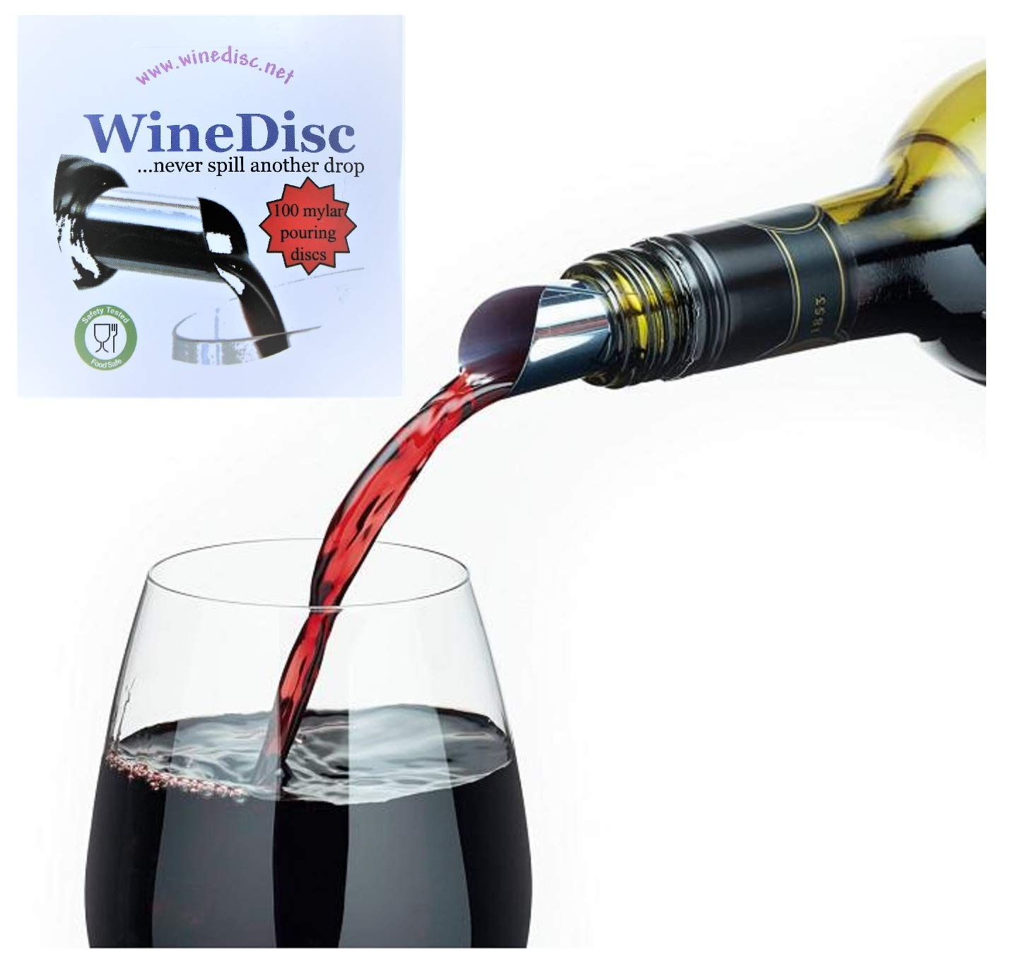 The Original Wine Disc - Drop Stopping Pour Spout (100) by WineDisc