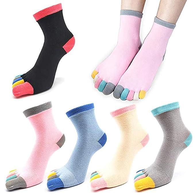 Pingtr 5 pares de calcetines de algodón rayado de cinco dedos para gatos, calcetines de