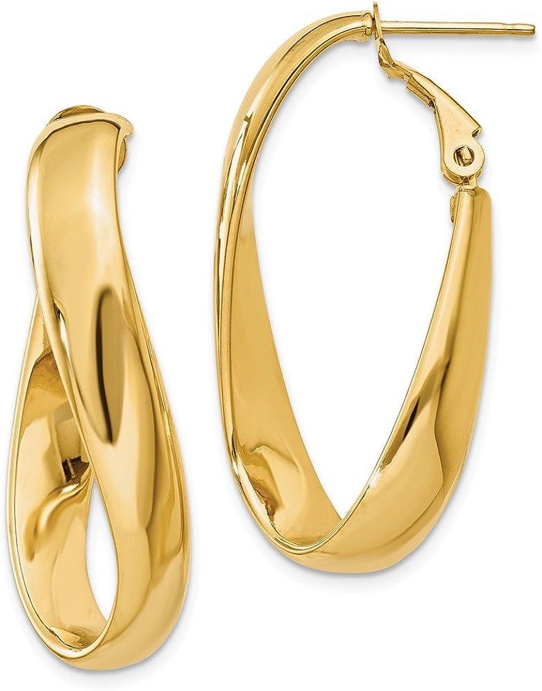Mia Diamonds 14k White Gold 3mm Twisted Hoop Earrings