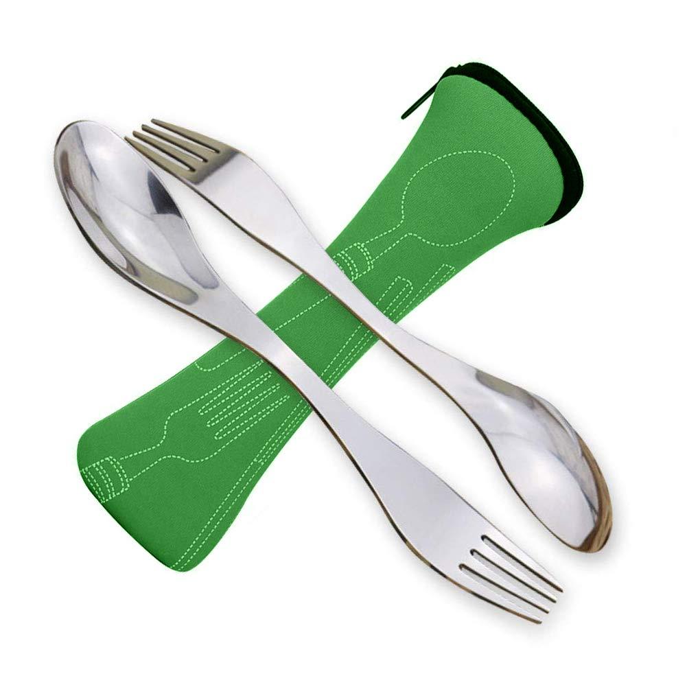 SwirlColor Couvert Camping Fourchette Cuillere INOX Portable Fourchettes de Table Adulte et Les Enfants 2 pi/èces