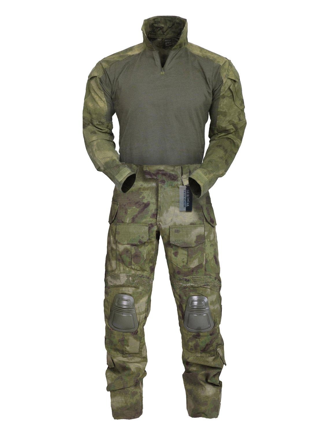 ZAPT Military Tactical Clothing Army Combat Apparel Camouflage Uniform With Knee Elbow Pad (40,A-TACS FG)