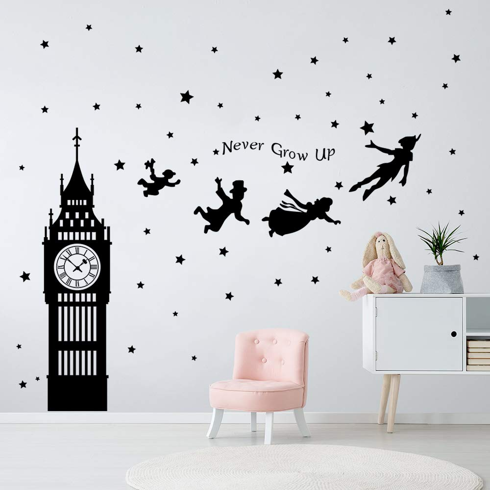 decalmile Peter Pan Characters Wall Decals Big Ben Clock Never Grow Up Quotes Stars Wall Stickers Baby Nursery Room Kids Bedroom Wall Decor by decalmile