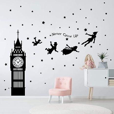 Adesivi Da Parete Per Bambini.Decalmile Adesivi Murali Peter Pan Big Ben Stelle Adesivi Da Parete Bambini Frase Decorazione Murale Cameretta Bambini Asilo Nido